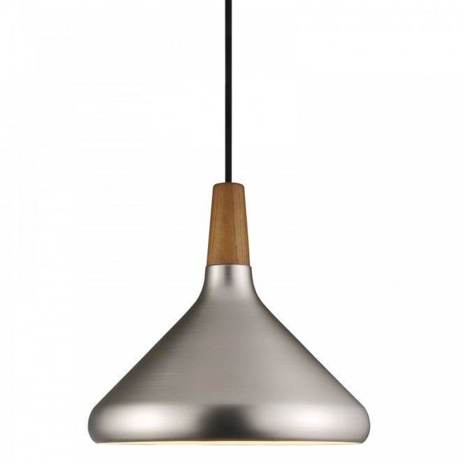 Nordlux FLOAT 27 brushed steel & wooden ceiling pendant