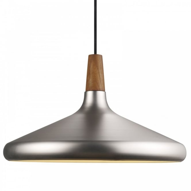 Nordlux FLOAT 39 brushed steel & wooden ceiling pendant