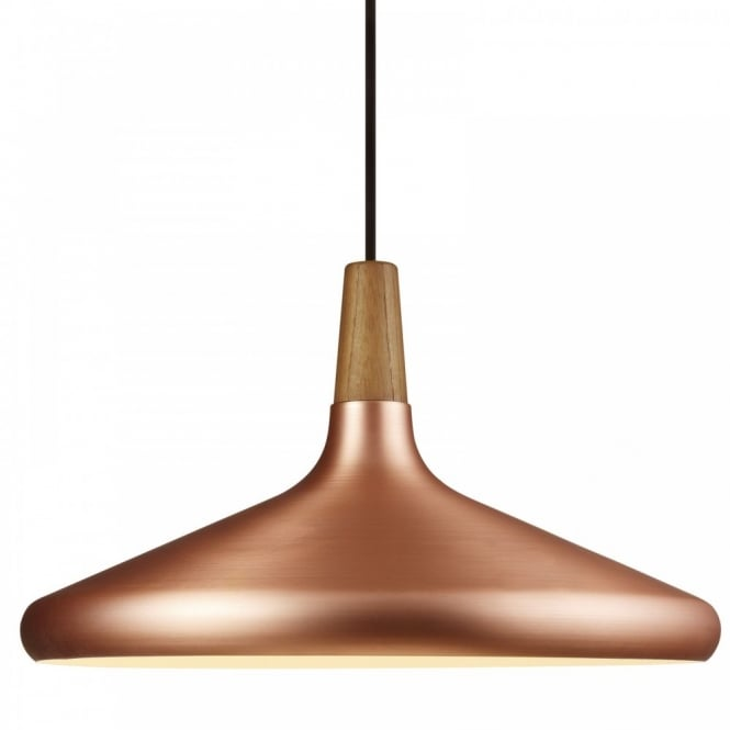 Nordlux FLOAT 39 copper & wooden ceiling pendant