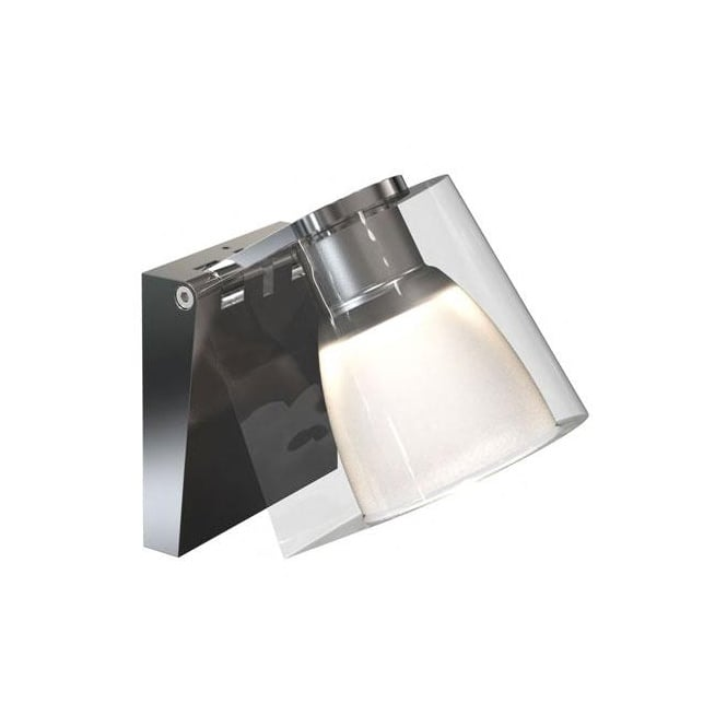 Nordlux IP S12 LED bathroom wall light in chrome with glass shade