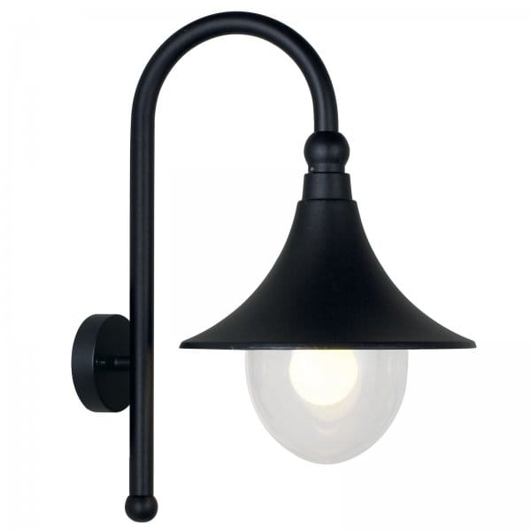Traditional Rustic Outdoor Wall Light in Black Finish with Glass Shade