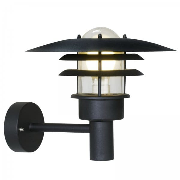 Black Garden Wall Lights : Garden Wall Light with IP44 Rating, Double Insulated, Black Finish