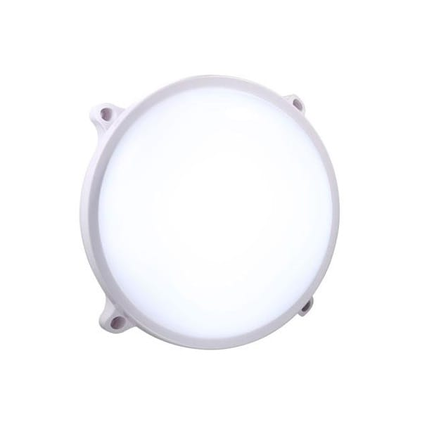 Round Led Exterior Wall Lights : Modern Round LED Exterior Wall Light in White - IP65 Rated