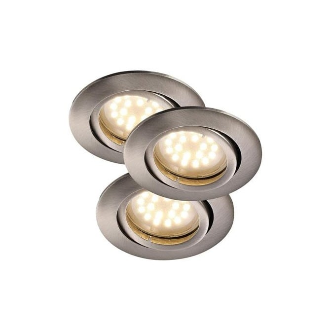 Brushed Steel Recessed LED Ceiling Spotlight Kit