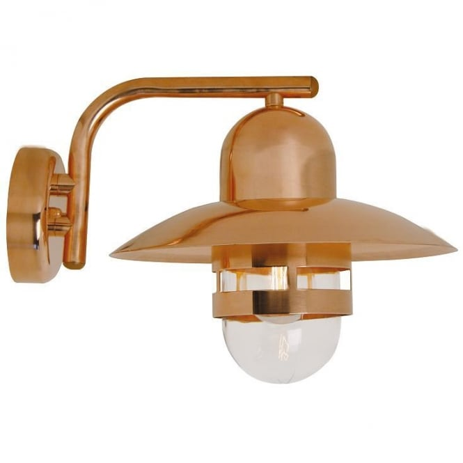 NIBE copper exterior wall light with clear glass