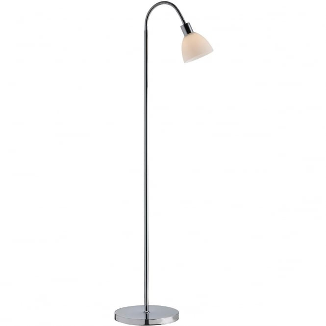 RAY contemporary chrome floor lamp with opal glass shade