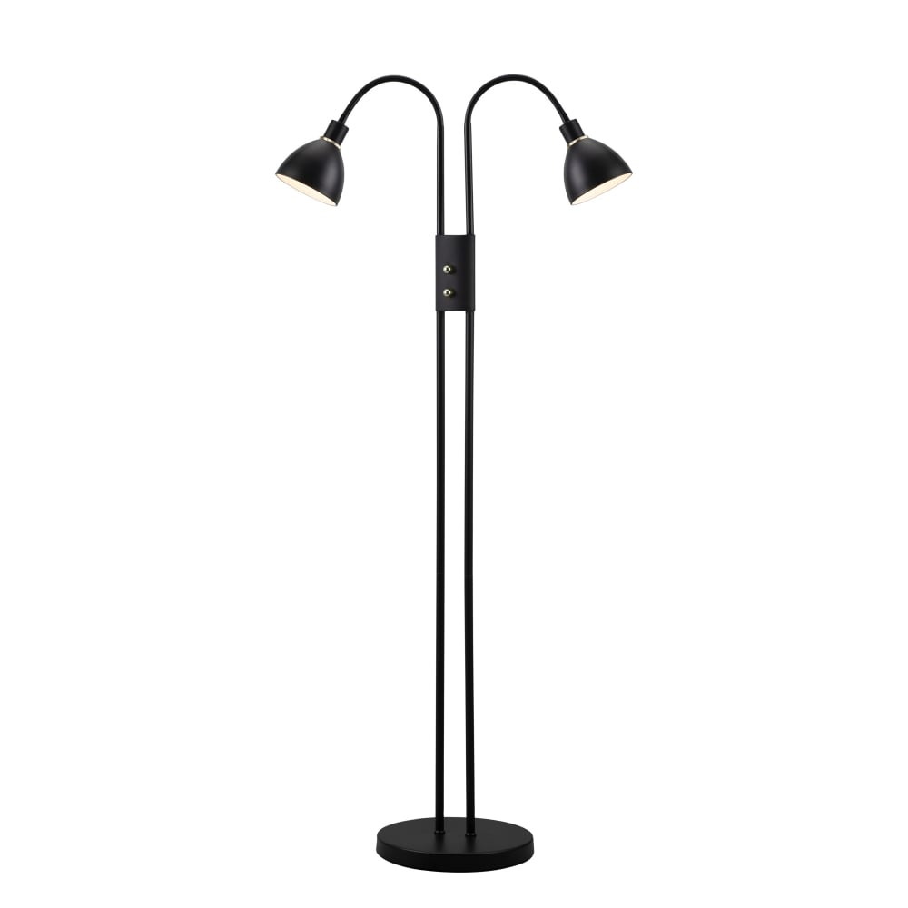 Contemporary Black Dual Head Floor Lamp With Dimmer Switch