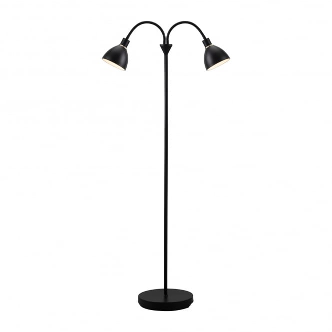 RAY twin head contemporary floor lamp in black