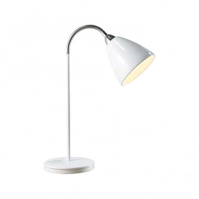 Nordlux Read Flex White Table Light for Reading or Studying:Nordlux READ FLEX flexible headed white metal table lamp,Lighting