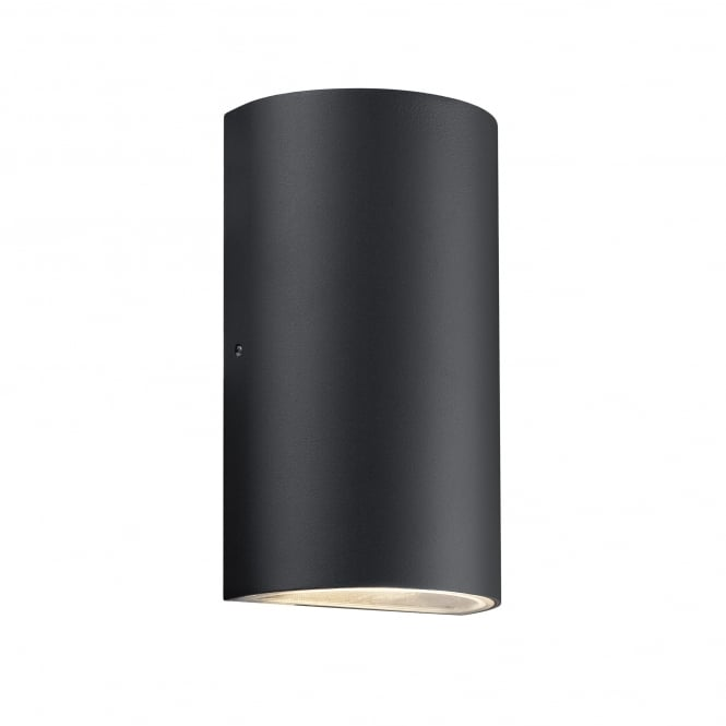 ROLD rounded half cylinder exterior wall light in black