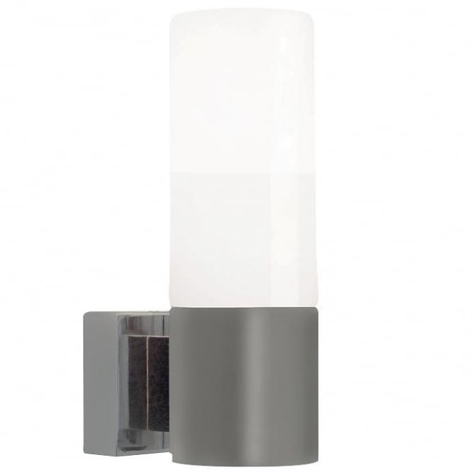 TANGENS brushed steel bathroom wall light with opal glass