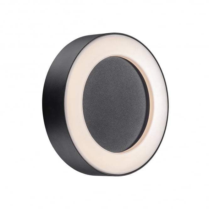 TETON round exterior LED wall light in black with opal diffuser