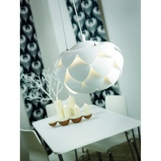 Nordlux THISTLE double insulated white pendant light for high ceilings