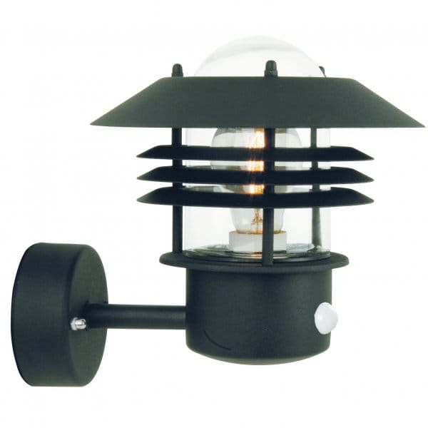 Black Garden Wall Lights : Garden Wall Light with in built Sensor PIR, Ideal as a Security Light