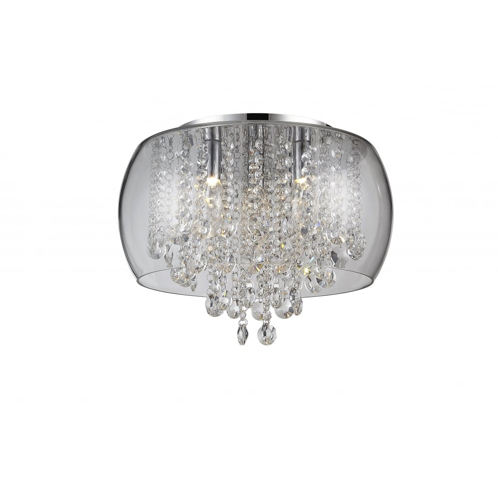 Waterford Crystal NORE Flush Chrome And Crystal Bathroom Light With Glass  Surround (small)