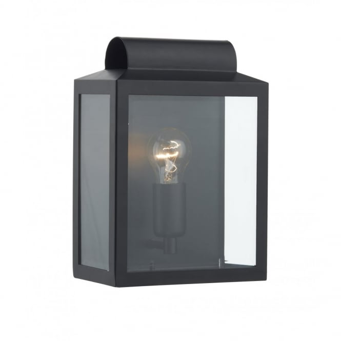 Traditional ip44 rated wall light black finish with glass panels notary black traditional ip44 wall light aloadofball Images
