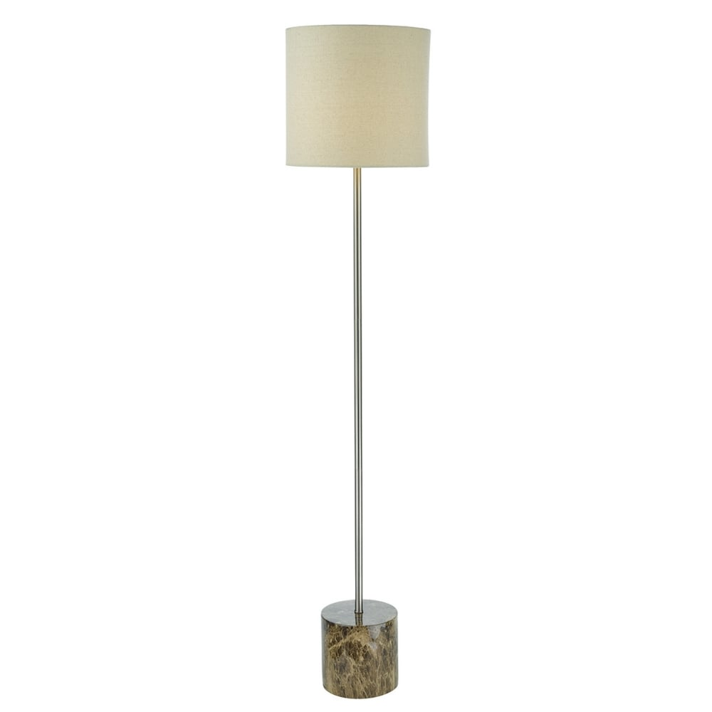 Brown marble effect floor lamp with taupe linen shade mozeypictures Gallery