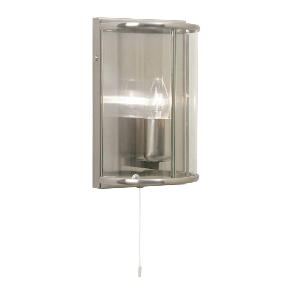 Fitting Wall Lights With No Earth : Antique Chrome Wall Light Semi-Circular with Clear Glass & Pull Switch