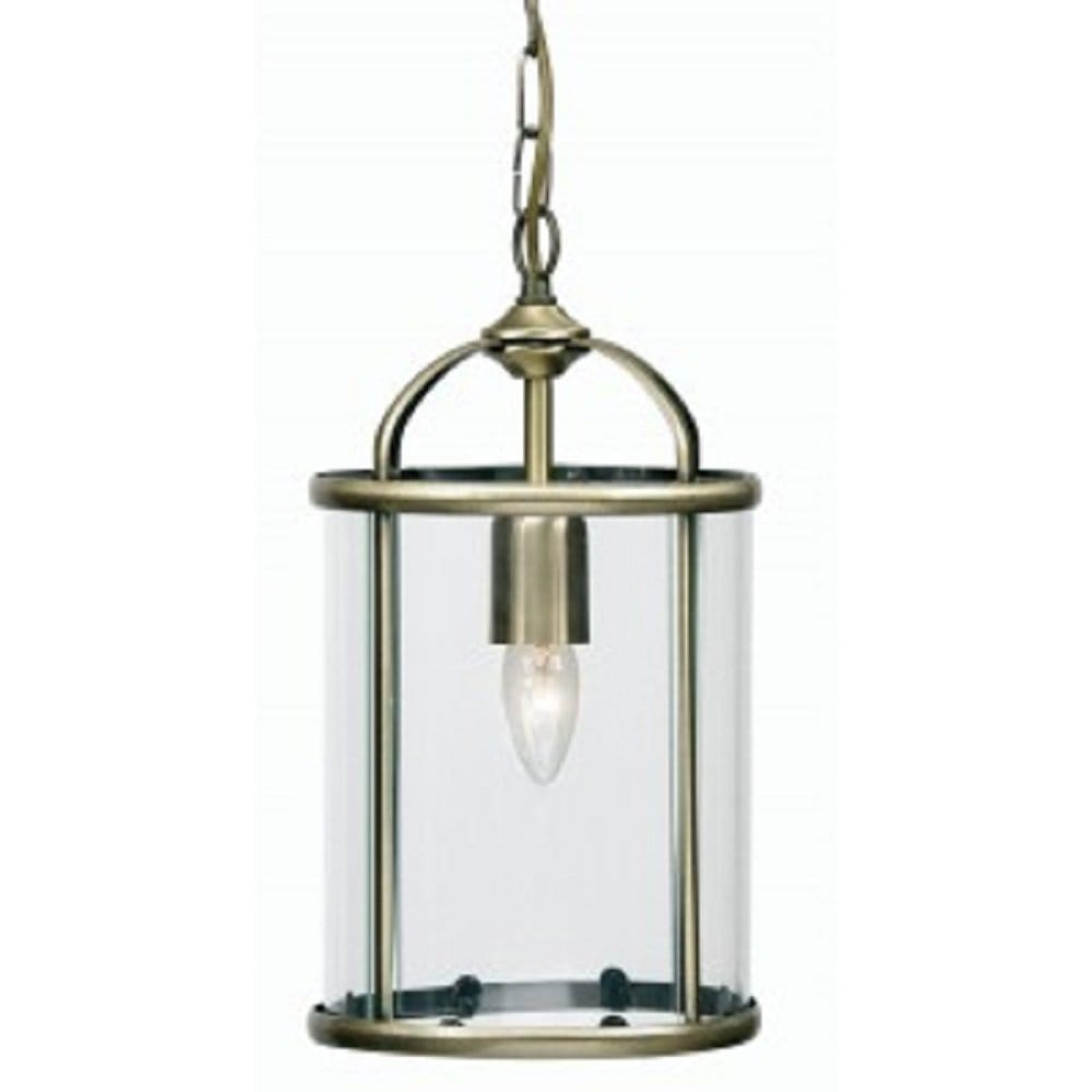 Small antique brass ceiling lantern on chain clear glass for Ceiling lights for small hallway