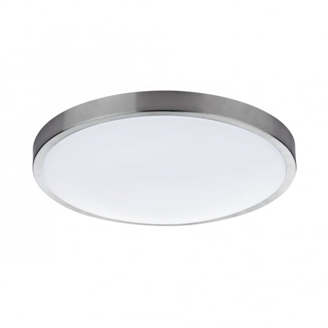 Flush fitting light for low ceilings circular satin silver opal shades oban round satin chrome acrylic flush ceiling light mozeypictures Image collections