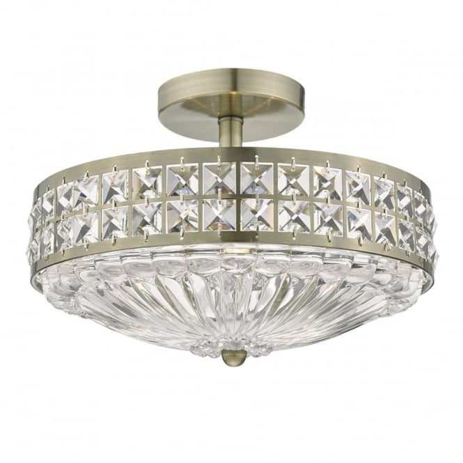 A traditional semi flush ceiling light in antique brass with crystal traditional semi flush antique brass and crystal ceiling light aloadofball Images
