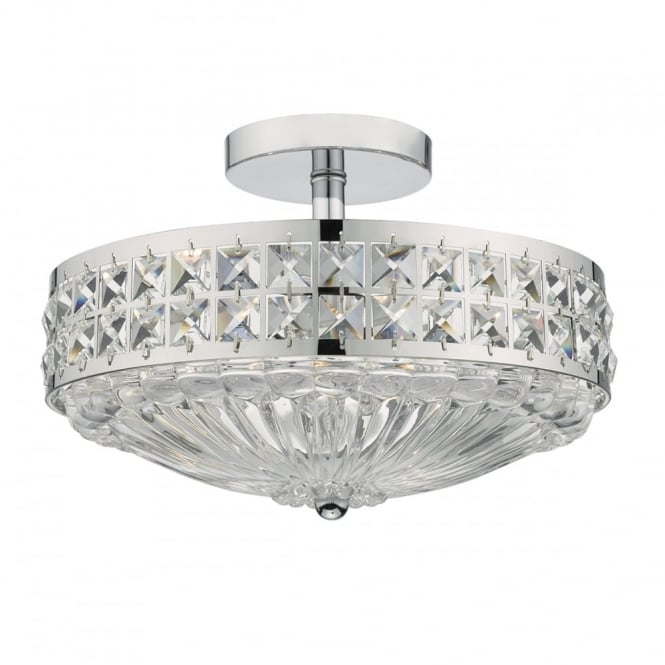 Traditional semi flush polished chrome and crystal ceiling light