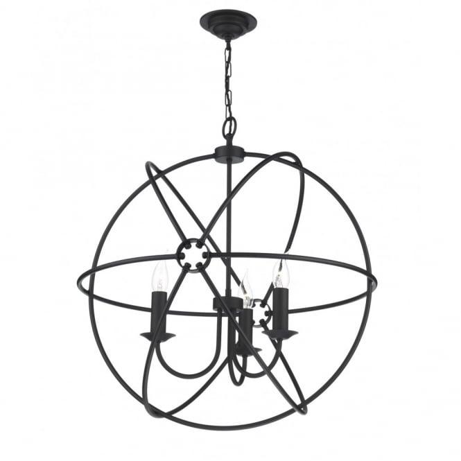 black circular orb gyroscopic ceiling pendant light for high ceilings