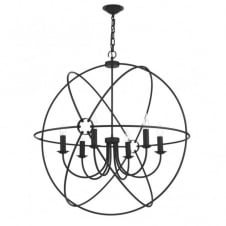 ORB circular black gyroscope pendant light