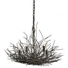 decorative 5 light bronze nest chandelier