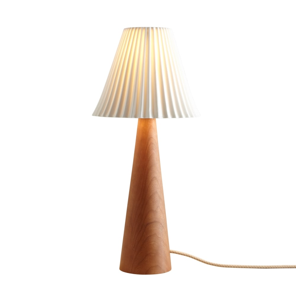 cherry wood cone shaped table lamp with pleated bone china shade. Black Bedroom Furniture Sets. Home Design Ideas