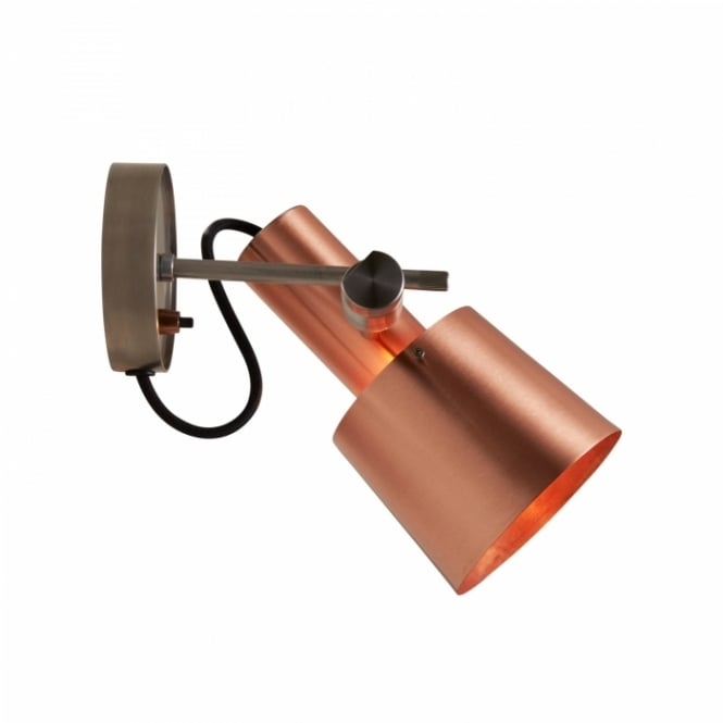 Original BTC CHESTER satin copper and stainless steel wall light