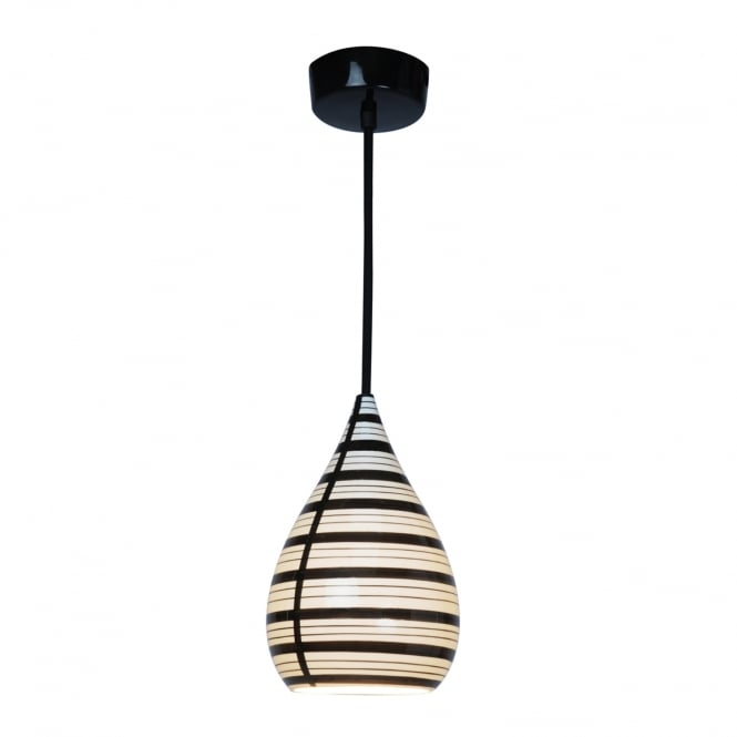 CIRCLE line drop bone china pendant light in natural white and black