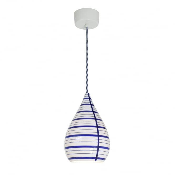 CIRCLE line drop bone china pendant light in natural white and blue