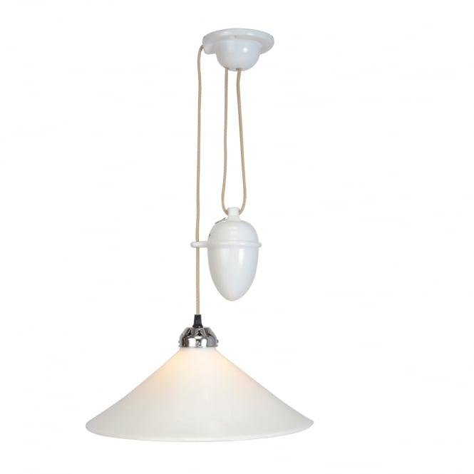 COBB rise & fall large pendant ceiling light in natural white bone china