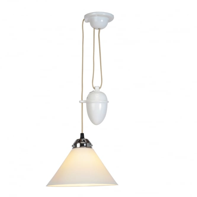COBB small rise & fall pendant ceiling light in natural white bone china