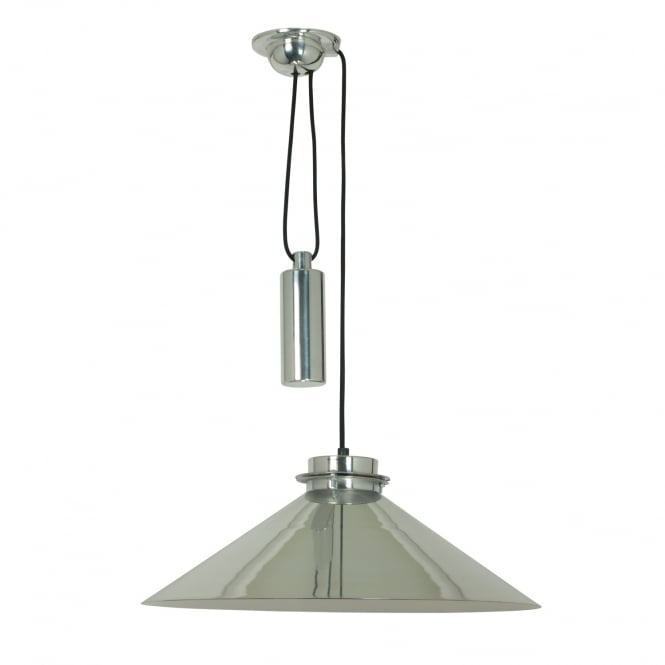 CODIE polished aluminium rise and fall ceiling pendant
