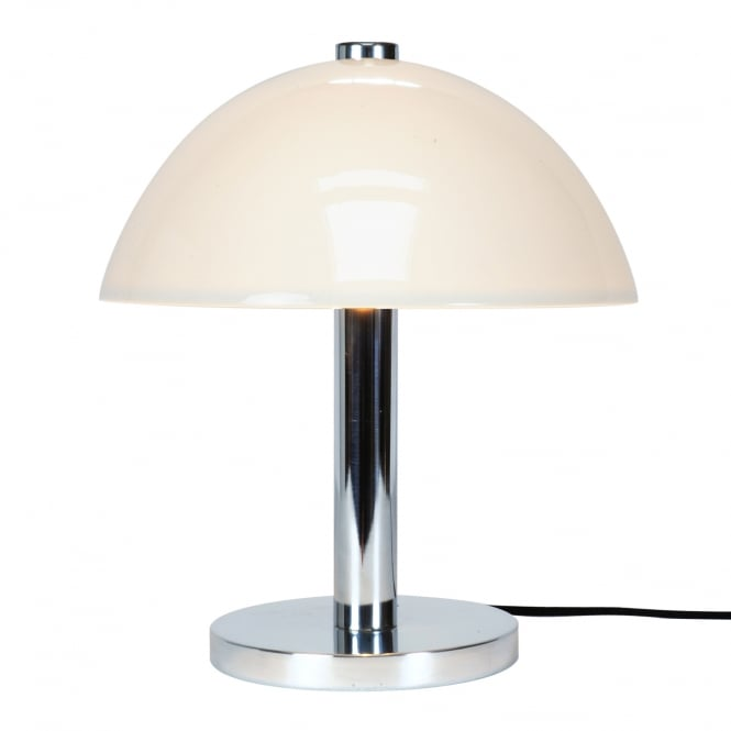 COSMO chrome table lamp with natural white bone china shade