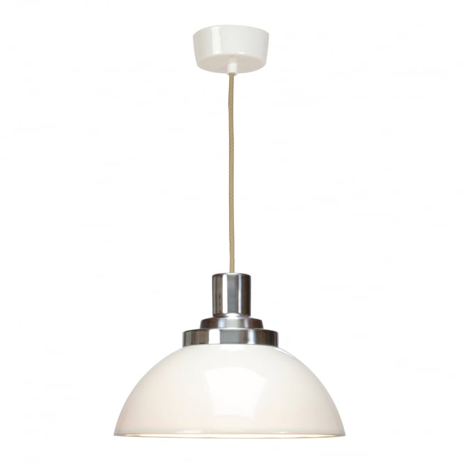 COSMO natural white bone china pendant with chrome detail