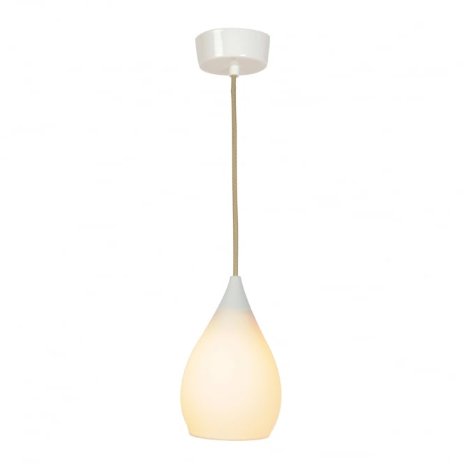 DROP single ceiling pendant in natural white bone china
