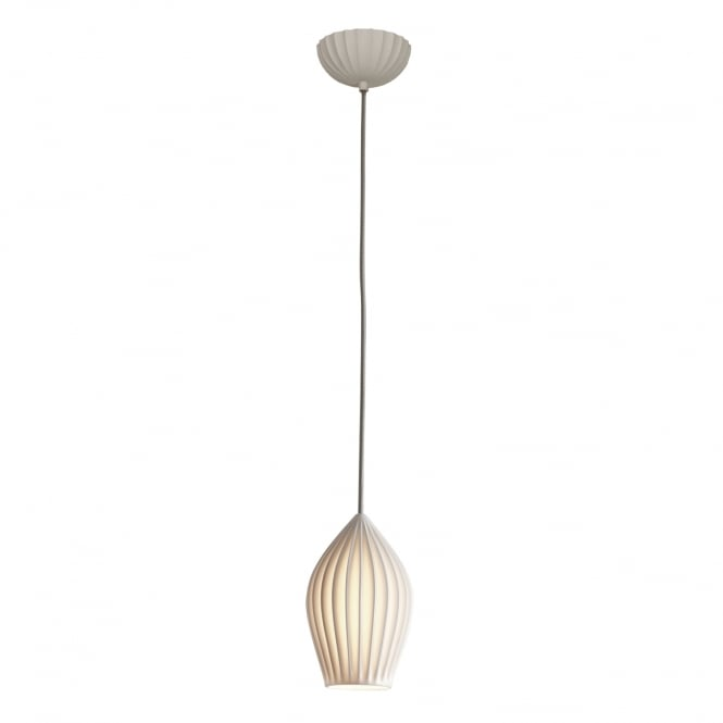 FIN natural white bone china pendant with braided flex