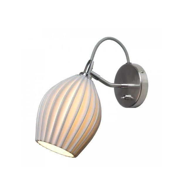 FIN satin chrome and natural white bone china wall light