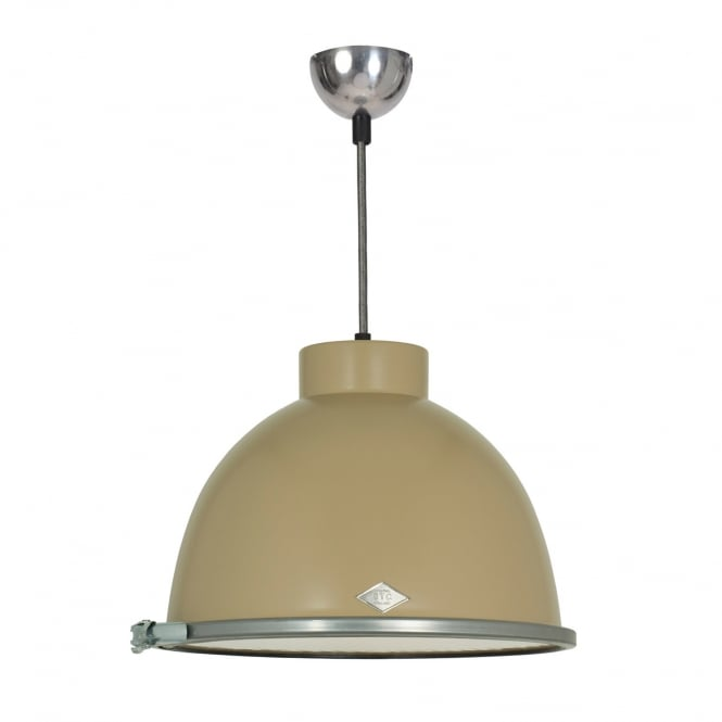 GIANT industrial beige pendant with wired glass diffuser