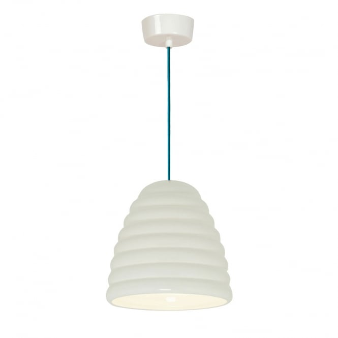 Original BTC HECTOR BIBENDUM natural white bone china pendant with ribbed effect and turquoise flex