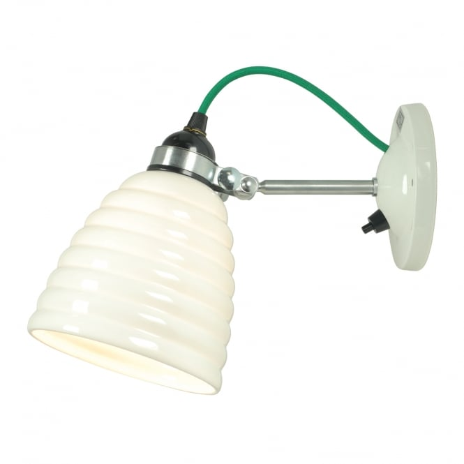 HECTOR BIBENDUM ribbed bone china wall light with green cable (switched)