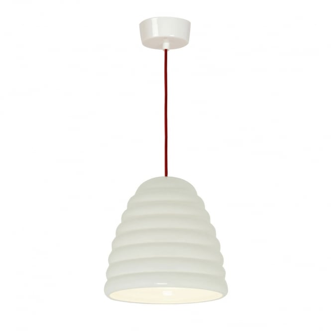 HECTOR BIBENDUM ribbed natural white bone china ceiling pendant with red cable