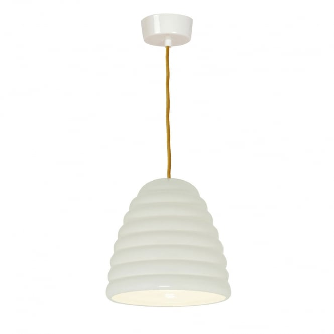 HECTOR BIBENDUM ribbed natural white bone china pendant with yellow flex