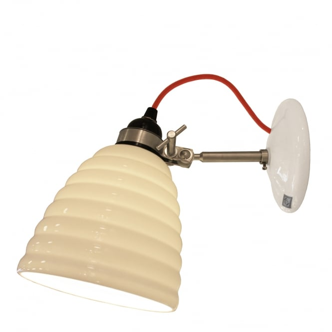 HECTOR BIBENDUM ribbed natural white bone china wall light with red cable