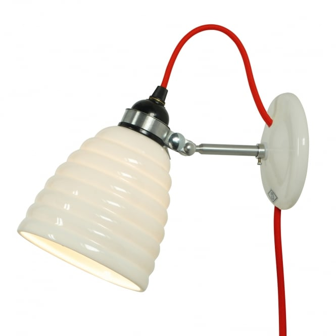 HECTOR BIBENDUM ribbed white bone china wall light with red flex