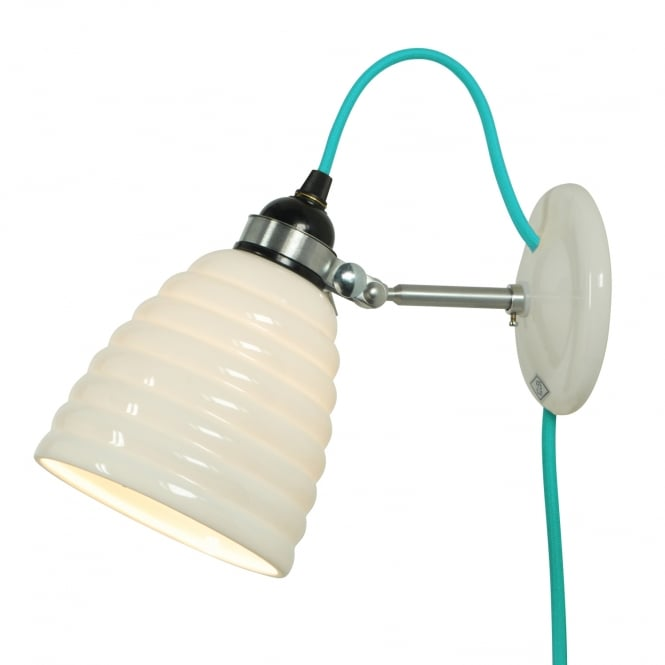Original BTC HECTOR BIBENDUM ribbed white bone china wall light with turquoise flex