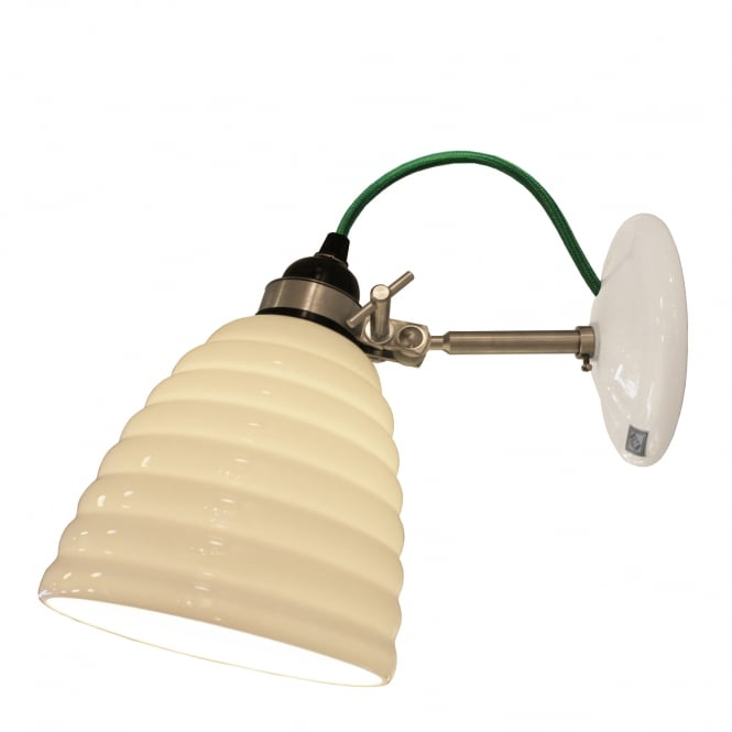 HECTOR BIBENDUM ripple effect bone china wall light with green cable
